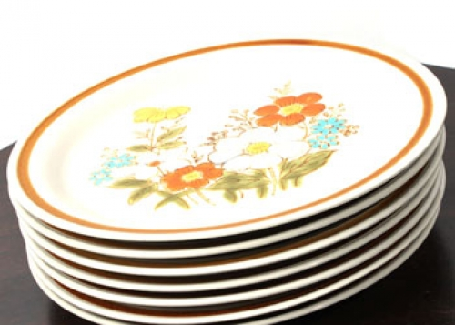 1970 39 s retro vintage highland florals collection plate 7pcs - Broc a brac 51 ...